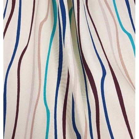Metraj draperie Nicaragua crem cu dungi turcoaz si maro