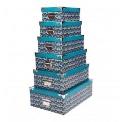 Set 6 cutii depozitare Guimard turcoaz cu negru