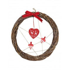 Coronita de Craciun Karo Festive inimioare de lemn si fundita rosie