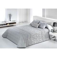 Set cuvertura de pat cu 2 fete de perne matlasata Garen gri argintiu