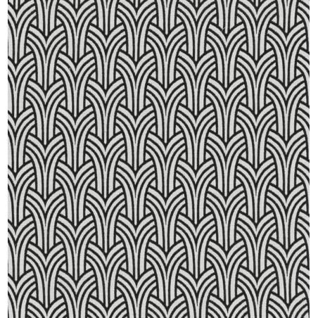 Metraj draperie tapiterie BW Union alb cu negru