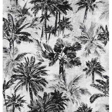 Metraj draperie tapiterie cu palmieri BW Tropic alb cu negru