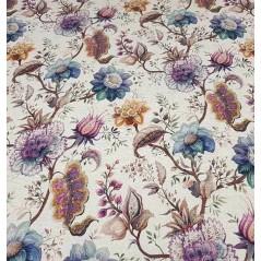 Metraj draperie din in cu motive florale Iris indigo
