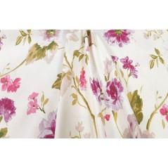 Metraj draperie bumbac cu tematica florala in nuante de mov pe fond crem