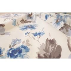 Metraj draperie bumbac Goya cu flori albastre si gri