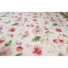 Metraj draperie bumbac Goya cu flori rosii si roz