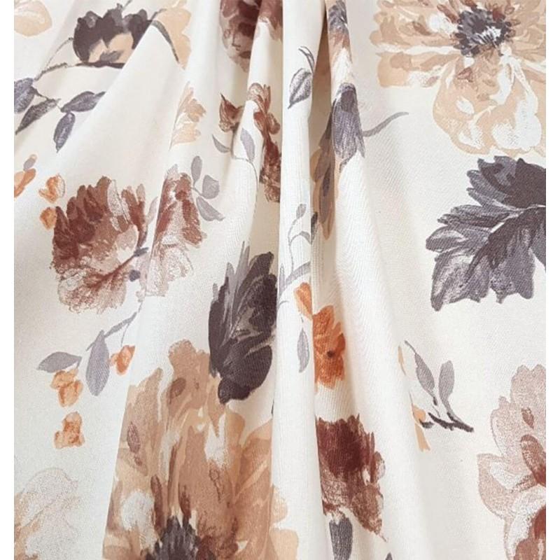 Metraj draperie din bumbac Goya cu flori maro si bej