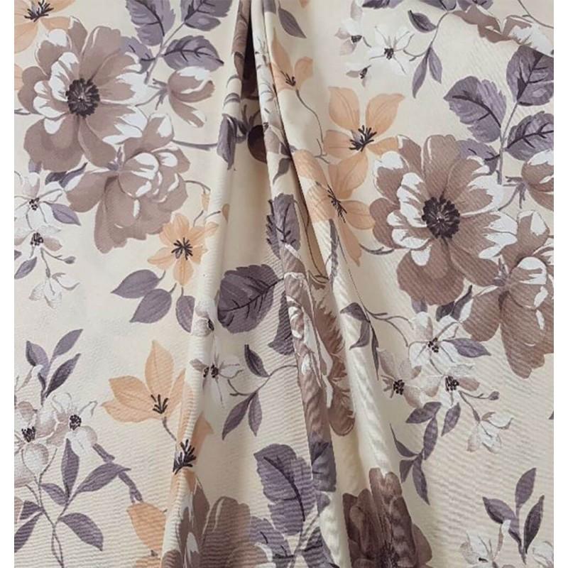Metraj draperie bumbac cu motive florale gri si bej pe fond crem