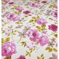 Metraj draperie bumbac cu motive florale Preston roz si bej
