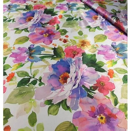 Metraj draperie dimout cu flori colorate Bohemiapeq mov
