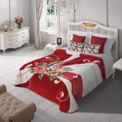 Pura cuvertura pt pat dublu cu flori rosu cu alb