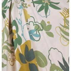 Metraj draperie bumbac Nico Marisca crem cu frunze verzi