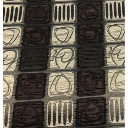 Metraj draperie cu imprimeu geometric Sidy crem cu maro