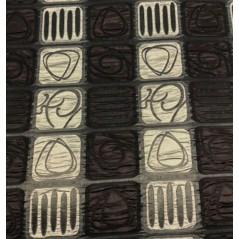 Metraj draperie cu imprimeu geometric Sidy maro cu bej