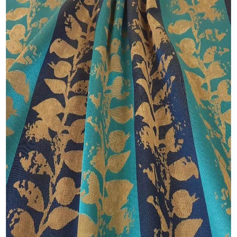 Metraj draperie modern cu dungi Muriel turcoaz si albastru