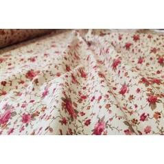 Metraj draperie bumbac cu flori grena Rococo pe fond crem