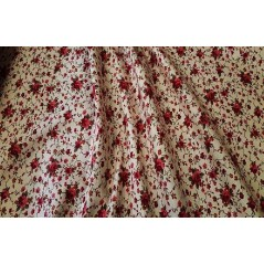 Metraj draperie bumbac cu flori grena Rococo pe fond bej