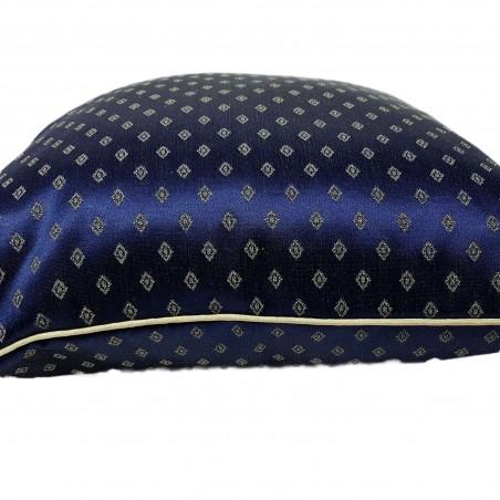 Perna decorativa eleganta Karo bleumarin cu auriu