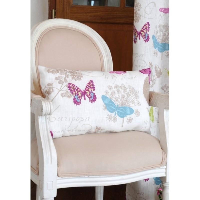 Perna decorativa din in cu fluturi Blanc