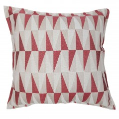 Perna decorativa cu model geometric crem si rosu