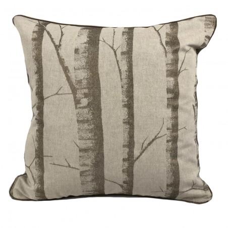 Perna decorativa din in cu trunchiuri de copaci pe fond grej