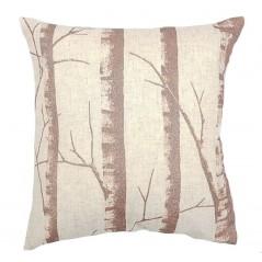 Perna decorativa din in cu trunchiuri de copaci pe fond crem
