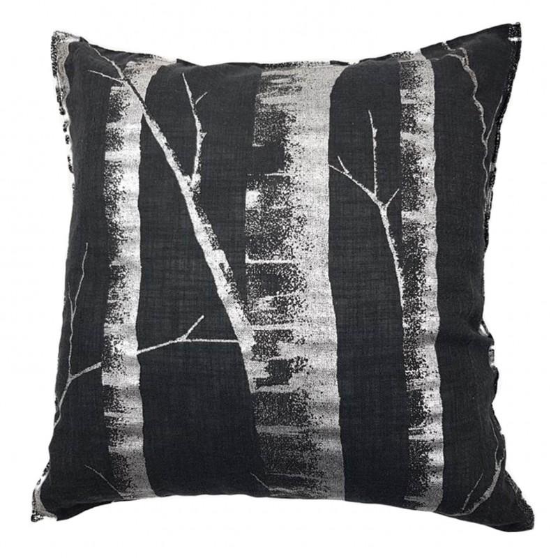 Perna decorativa din in cu trunchiuri de copaci pe fond negru