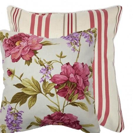 Perna decorativa cu 2 fete bej cu dungi si flori rosii
