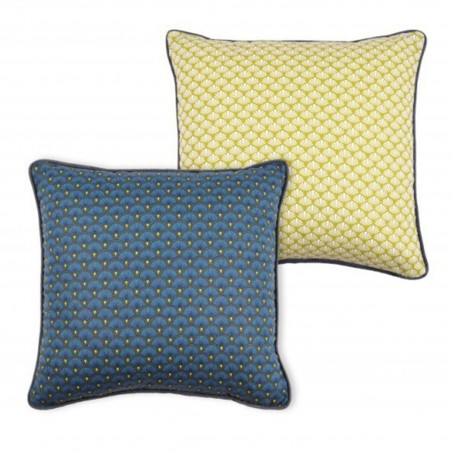 Perna decorativa cu 2 fete galben si bleu Doucet
