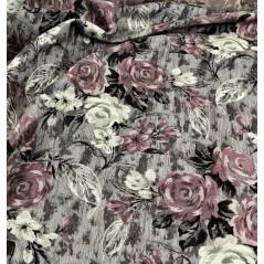 Metraj stofa draperie si tapiterie gri cu flori mov si crem