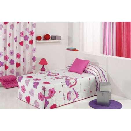 Cuvertura de pat pentru fete cu printese Wendy 02 roz cu alb