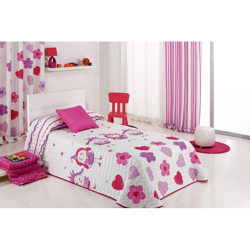 Cuvertura de pat pentru fete cu printese Wendy roz cu alb