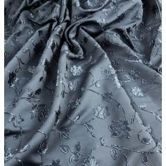 Metraj draperie cu model floral in relief albastru petrol