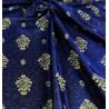 Metraj draperie clasica model albastru cu auriu