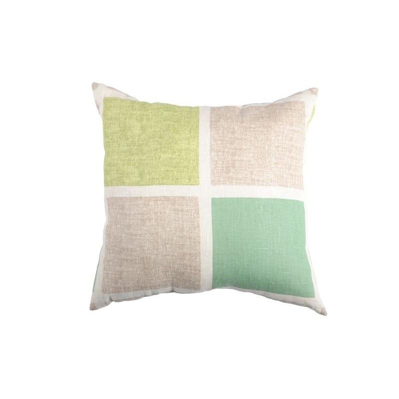Perna decorativa bumbac cu patrate Vert