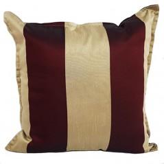 Perna decorativa cu dungi grena cu auriu