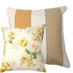 Perna decorativa cu 2 fete flori si dungi pe fond alb