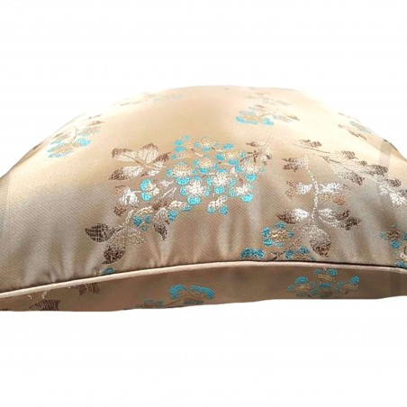 Perna decorativa bej auriu cu floricele turcoaz