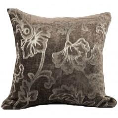 Perna decorativa catifea maro cu flori