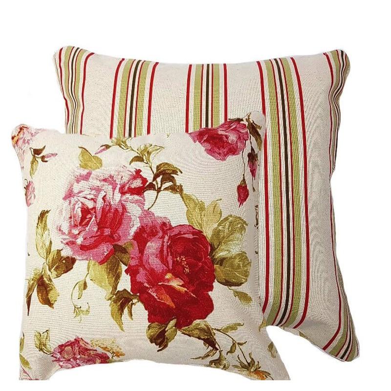 Perna decorativa cu 2 fete flori rosii si dungi verzi