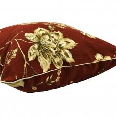 Perna decorativa caramiziu inchis cu flori bej
