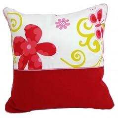 Set 2 perne decorative rosu cu alb