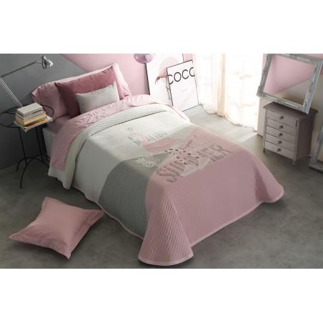 Cuvertura moderna Brianna alb cu gri si roz