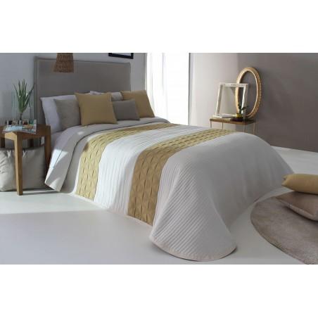 Cuvertura de pat eleganta Conte alb cu auriu