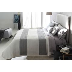 Cuvertura de pat eleganta Conte alb cu gri