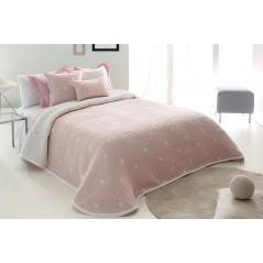 Cuvertura moderna Dempsy roz pal cu stelute albe