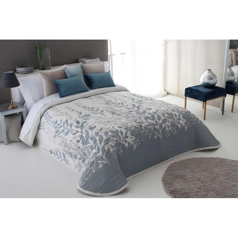Cuvertura de pat eleganta Lisboa crem cu frunze gri si grej