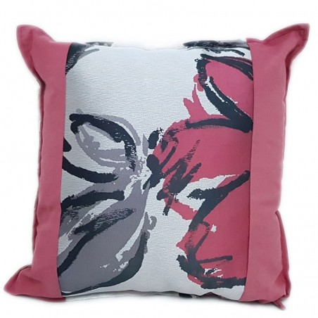 Perna decorativa vesela roz cu gri si verde