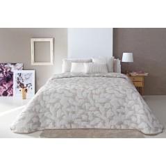 Cuvertura de pat cu forme de frunze Ocanya bej cu alb
