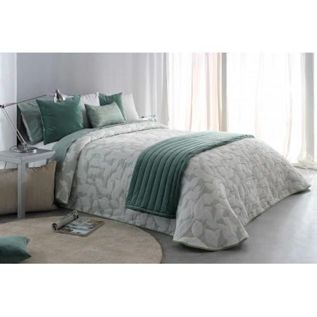 Cuvertura de pat cu forme de frunze Ocanya verde deschis cu alb
